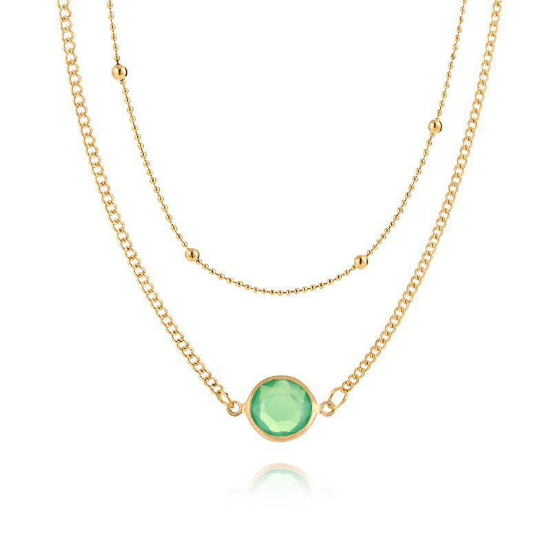 European and American Multi-layer Necklace Female Natural Opal Inlaid Double Necklace - PINK