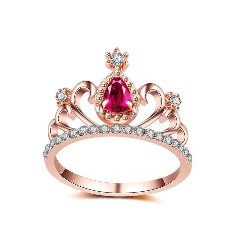 2017 New Plating Alloy Ring Micro Inlaid Zircon Jewelry Crown Ring Personalized Ring - PINK 9