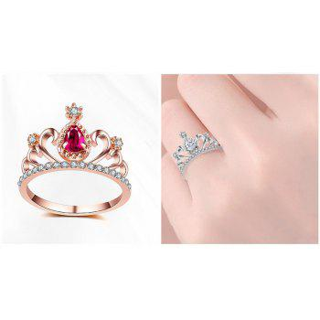 2017 New Plating Alloy Ring Micro Inlaid Zircon Jewelry Crown Ring Personalized Ring - PINK 7