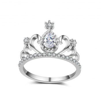 2017 New Plating Alloy Ring Micro Inlaid Zircon Jewelry Crown Ring Personalized Ring - PINK 8