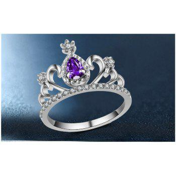 2017 New Plating Alloy Ring Micro Inlaid Zircon Jewelry Crown Ring Personalized Ring - PURPLE 7