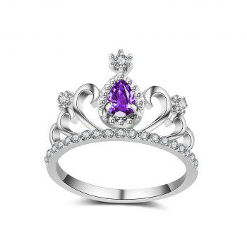 2017 New Plating Alloy Ring Micro Inlaid Zircon Jewelry Crown Ring Personalized Ring - PURPLE 8