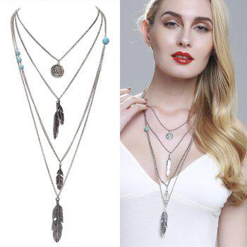 Europe and The United States Jewelry Multi - Layer Alloy Necklace Feather Pendant Turquoise Accessories Ladies Jewelry - SILVER SILVER