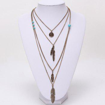 Europe and The United States Jewelry Multi - Layer Alloy Necklace Feather Pendant Turquoise Accessories Ladies Jewelry - SILVER