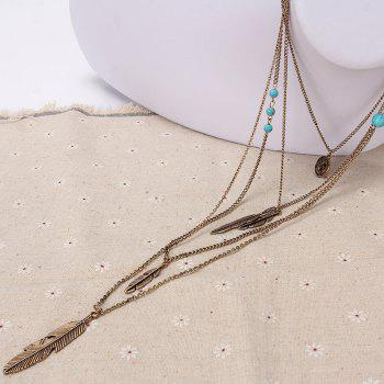 Europe and The United States Jewelry Multi - Layer Alloy Necklace Feather Pendant Turquoise Accessories Ladies Jewelry - GOLD