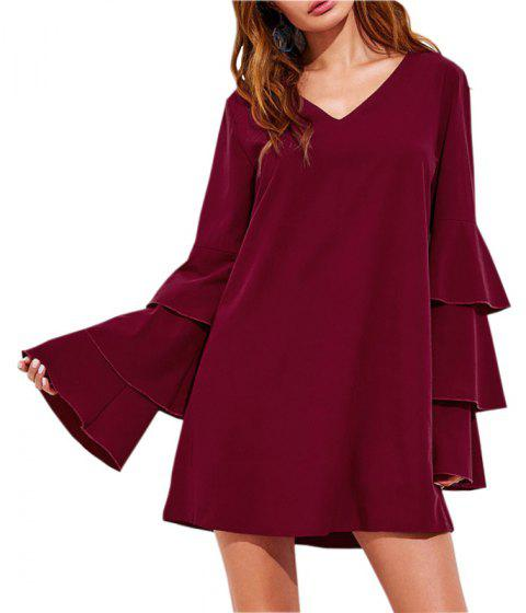 V Collar Size Dress - BURGUNDY L