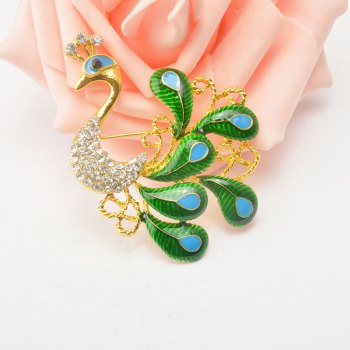 High-grade Brooches Multicolor Rhinestone Green Peacock Brooch Wedding Pins Fine Jewelry - GOLDEN/GREEN