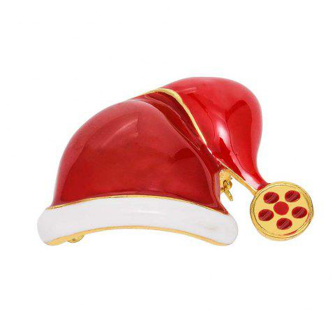 Fashion Christmas Hat Brooch Santa Claus Hat Christmas Gift Jewelry For Women Kids Red Brooches - RED