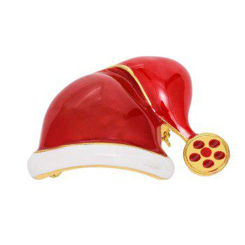 Fashion Christmas Hat Brooch Santa Claus Hat Christmas Gift Jewelry For Women Kids Red Brooches - RED RED