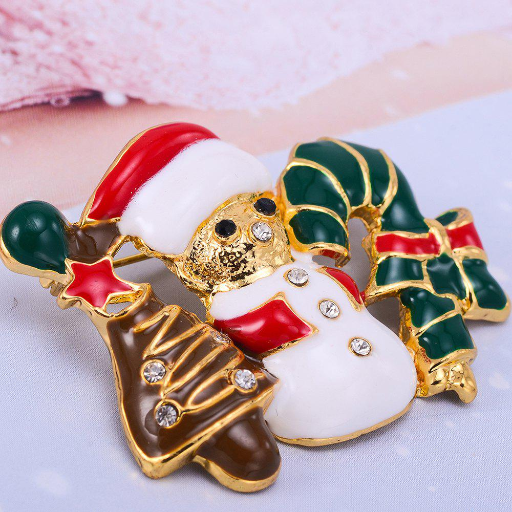 Christmas Gift colours Enameled Snowman Brooch Pins for Christmas in Gold Color Plated - COLORFUL