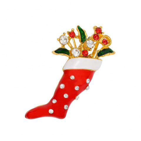 Crystal Enamel Brooch Pin Christmas Stocking Shape Pin Brooch Wedding Party Christmas Gift Jewelry Party Supplies - RED
