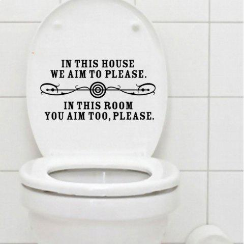 In This House Quote Toilet Sticker Washroom Decals Home Decor - BLACK 10 X 20 CM