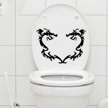 Dragons Vinyl Removable Toilet Sticker Washroom Decals Home Decor - BLACK 16 X 23 CM