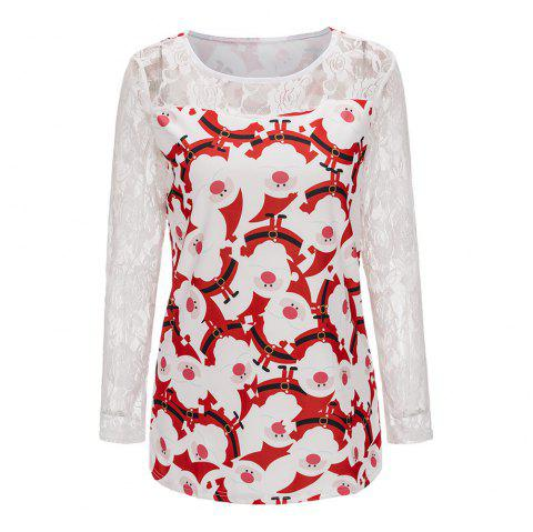 2017 New Lace Mosaic Lovely Christmas T-shirt - WHITE L