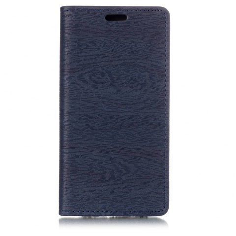 Textured Lines Pattern Flip PU Leather Wallet Case for Samsung Galaxy A8 2018 - DEEP BLUE