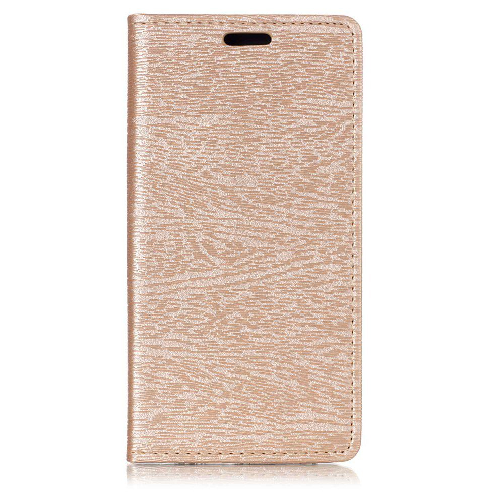 Textured Lines Pattern Flip PU Leather Wallet Case for Samsung Galaxy A8 2018 - GOLDEN