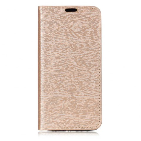 Textured Lines Pattern Flip PU Leather Wallet Case for Samsung Galaxy A8+ 2018 - GOLDEN