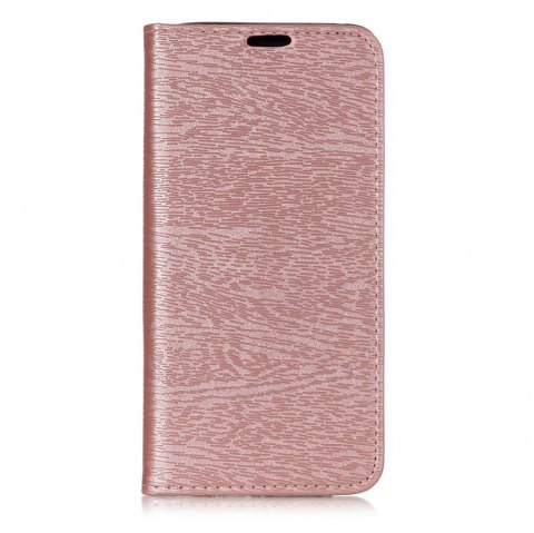 Textured Lines Pattern Flip PU Leather Wallet Case for Samsung Galaxy A8+ 2018 - ROSE GOLD