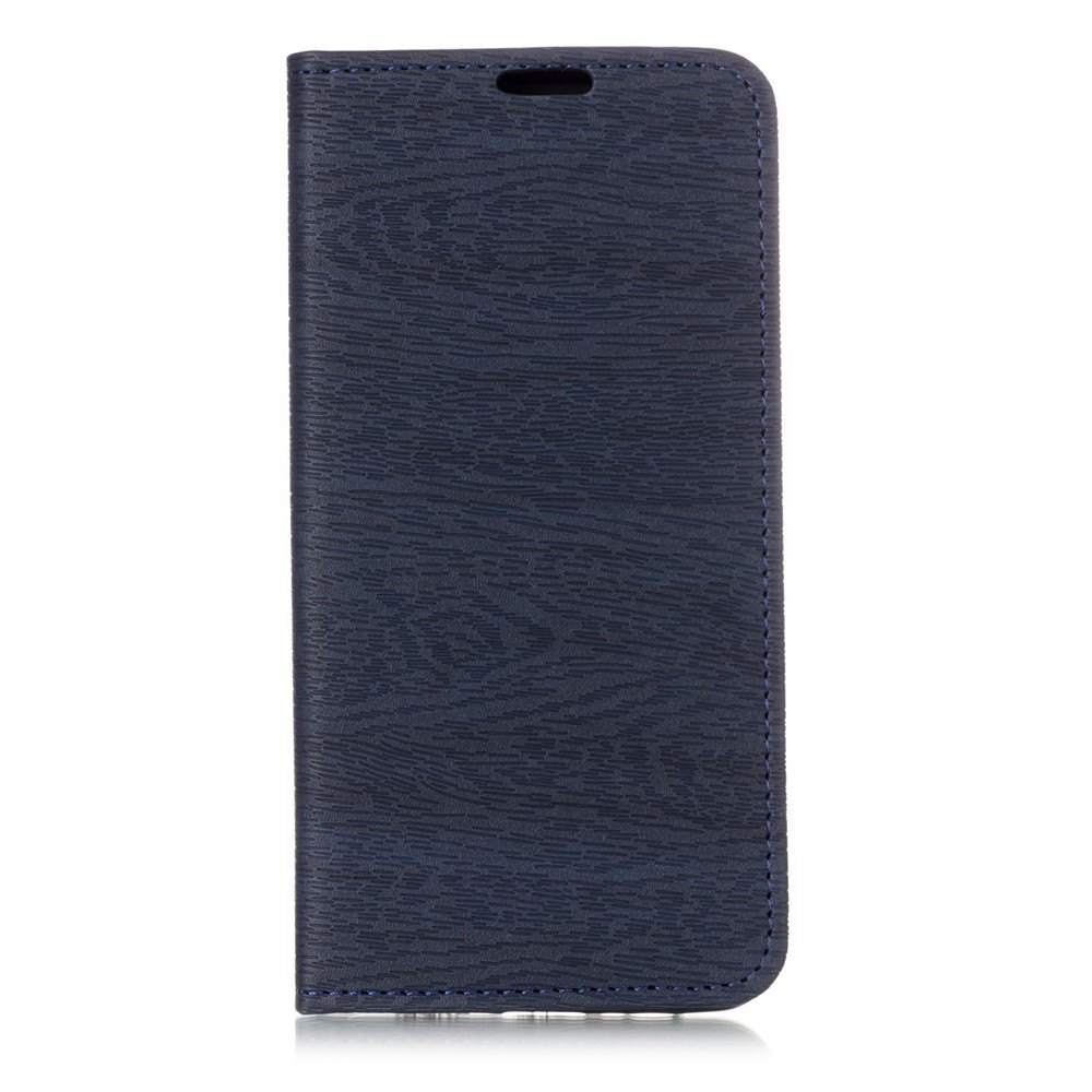 Textured Lines Pattern Flip PU Leather Wallet Case for Samsung Galaxy A8+ 2018 - DEEP BLUE