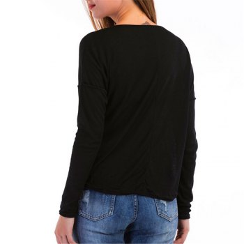 Long Sleeved Leisure T-shirt - BLACK BLACK