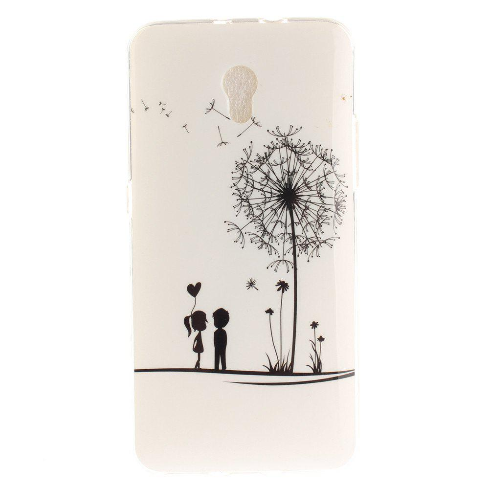 A Lover and A Dandelion Soft Clear IMD TPU Phone Casing Mobile Smartphone Cover Shell Case for ZTE Blade V7 - WHITE