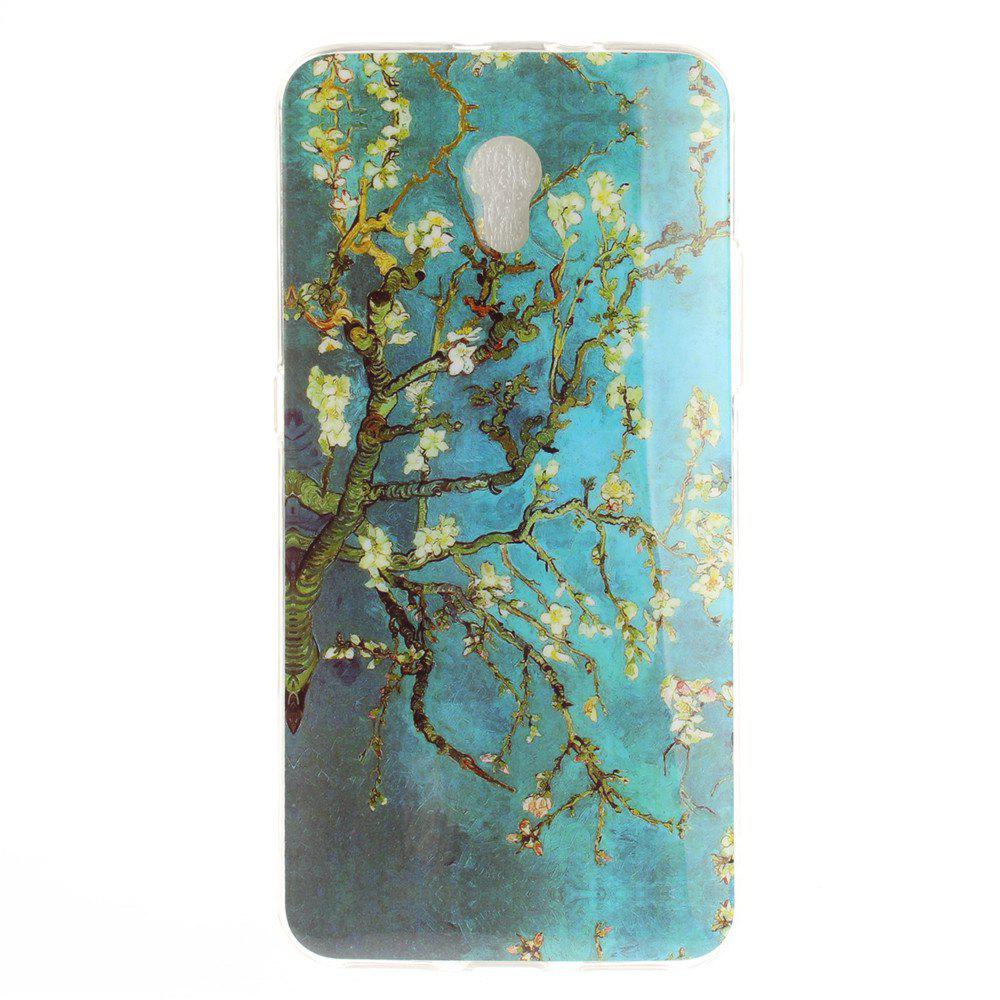 Apricot Blossom Pattern Soft Clear IMD TPU Phone Casing Mobile Smartphone Cover Shell Case for ZTE Blade V7 - BLUE