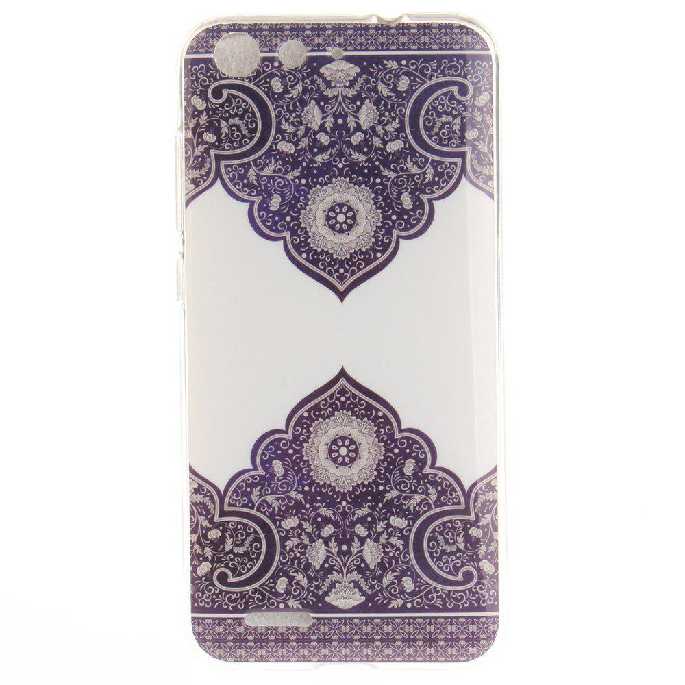 Diagonal Totem Soft Clear IMD TPU Phone Casing Mobile Smartphone Cover Shell Case for ZTE Blade X7 Z7 D6 V6 - GRAY