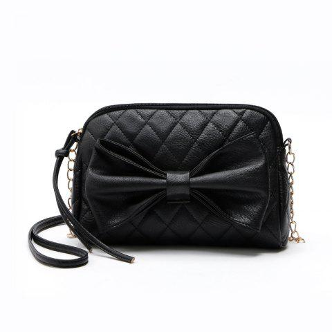 Chain Sweet Women Crossbody Bags Sweet Lady Big Bow Handbag Shoulder Bags - BLACK