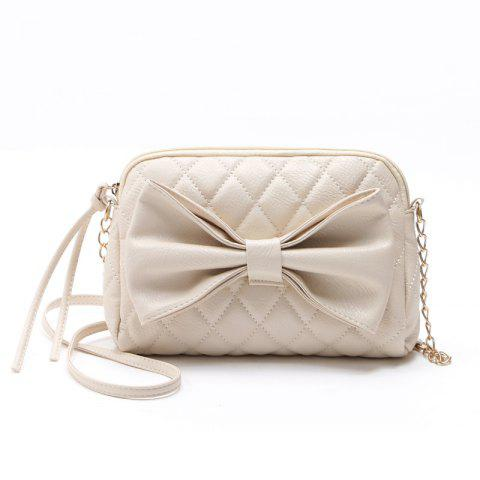 Chain Sweet Women Crossbody Bags Sweet Lady Big Bow Handbag Shoulder Bags - BEIGE