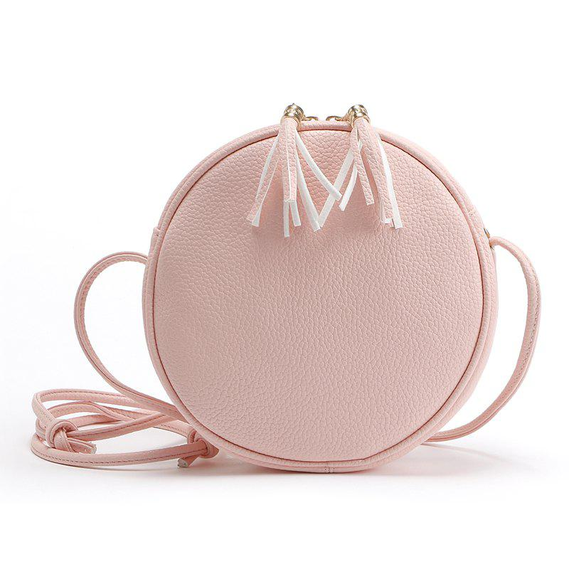 Candy Color Round Women Messenger Bag PU Leather Tassel Shoulder Bag new 2018 women backpack leather rivet bag ladies shoulder bags girls school book bag black backpacks mochila bagpack 3 pcs sets