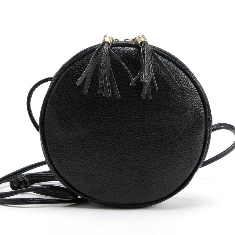 Candy Color Round Women Messenger Bag PU Leather Tassel Shoulder Bag mzorange 2018 genuine leather women handbag fashion tassels small round bag unique design brand lady shoulder bag messenger bag