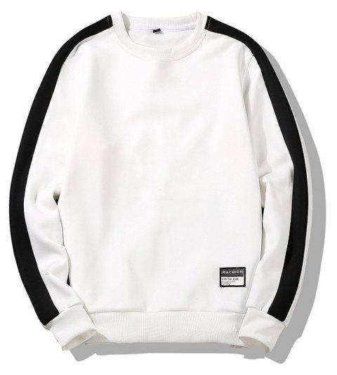 Men's Round Collared Sports  Sweatshirt - WHITE M
