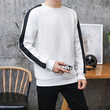 Men's Round Collared Sports  Sweatshirt - WHITE L