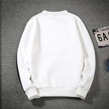 Men's Round Collared Sports  Sweatshirt - WHITE 4XL