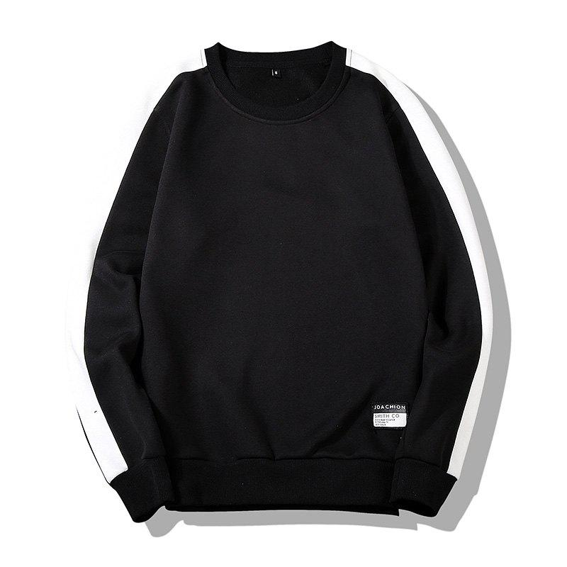 Men's Round Collared Sports  Sweatshirt - BLACK L
