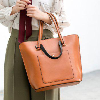 Simple Bag Handbag Shoulder Messenger Vertical Bucket Retro Casual All-match Tide - BROWN