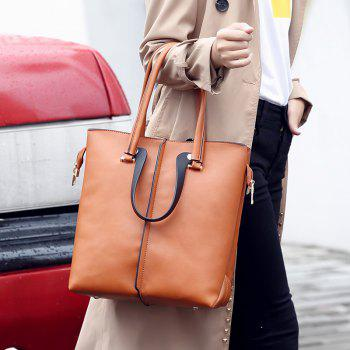 Simple Tote Retro Large Color Tassel Bag - BROWN