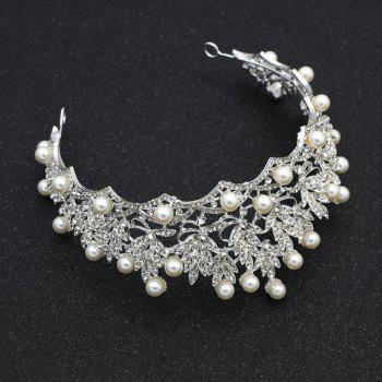 Luxury new bride diamond pearl hoops crown - SILVER