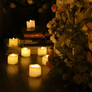 Set of 6pcs Flameless votive candles with top melted edge - IVORY YELLOW IVORY YELLOW