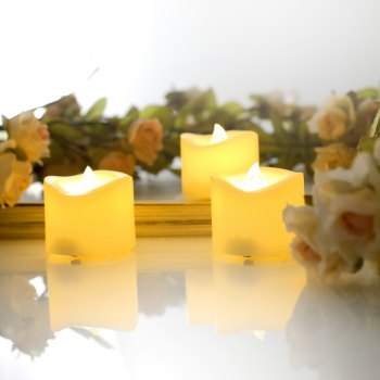 Set of 6pcs Flameless votive candles with top melted edge - IVORY YELLOW 6PCS