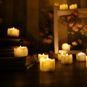 Set of 6pcs LED candles with drips with Timer - IVORY YELLOW IVORY YELLOW