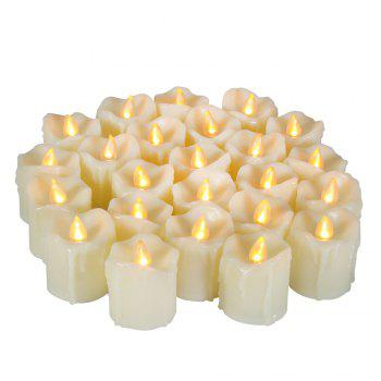 Set of 6pcs LED Big Votive with Timer - IVORY YELLOW IVORY YELLOW