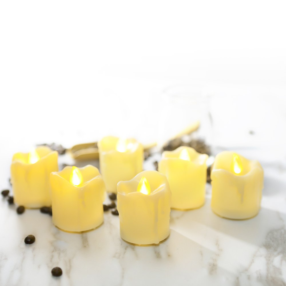 Set of 6pcs LED Big Votive with Timer - IVORY YELLOW 6PCS