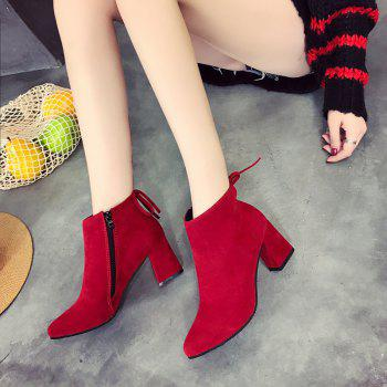 MS-880 Top Suede Bow Side Zipper High Rough Heel Martin Boots - RED 38