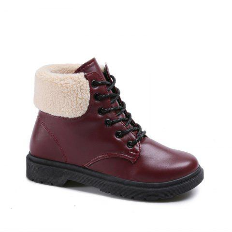 New Autumn and Winter Thick Retro Round Head Boots - BURGUNDY 39