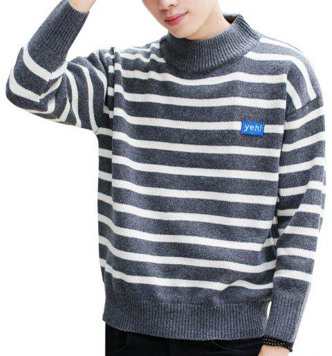 Men's Pullover Fashion Stripe Color Block Turtle Neck Casual Sweater - GRAY L