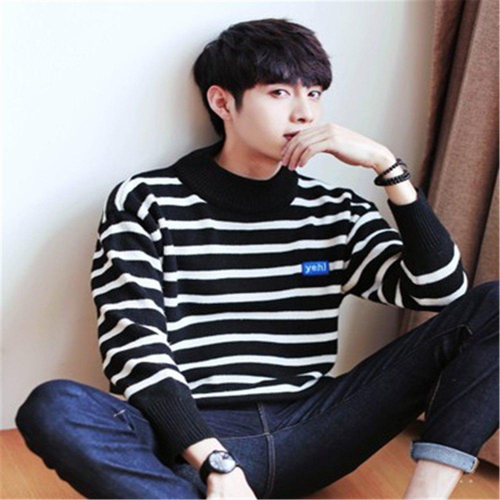 Men's Pullover Fashion Stripe Color Block Turtle Neck Casual Sweater - BLACK L