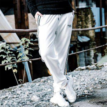 Men's Casual Pants Comfy Drawstring Fashion Color Block All Match Pants - WHITE WHITE