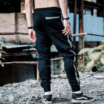 Men's Casual Pants Comfy Drawstring Fashion Color Block All Match Pants - BLACK XL
