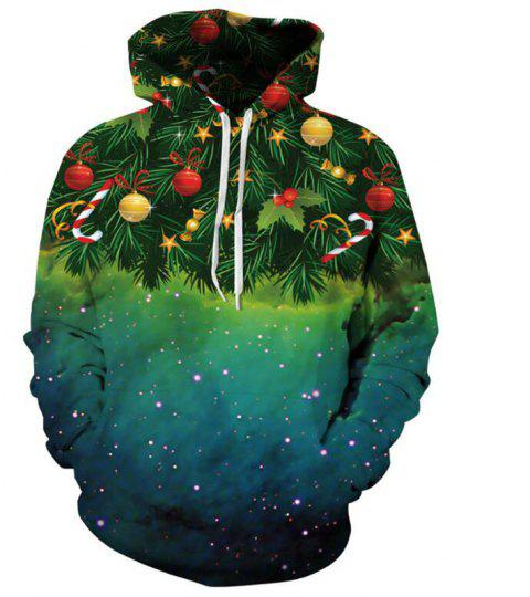 Plus Size Women Casual 3D Print Hoodie Christmas Tree Print Sweatshirt - GREEN S